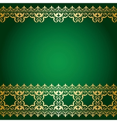 Green and gold background with vintage border vector