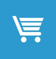 Shopping cart icon white on the blue background vector