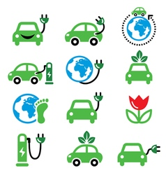 Electric car green or eco transport icons set vector image