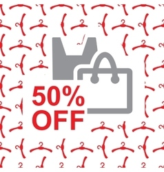 50 percent off text on bag design vector