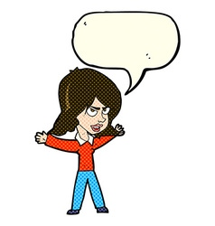 Cartoon woman gesturing with speech bubble vector