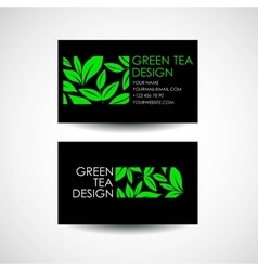 Green tea logo template business card desing vector