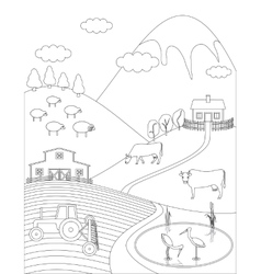 Coloring page countryside vector