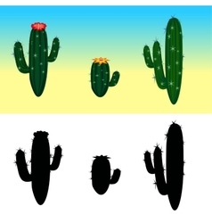 A cartoon cactus set with flowers and vector image vector image
