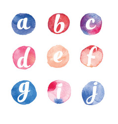 alphabet watercolor circles vector image