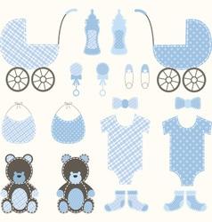 Baby shower boy set vector