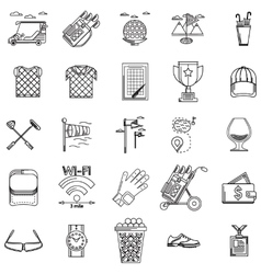 Black contour icons for golf vector image