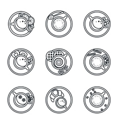 Black lineart icon set Coffee tea drinks vector image