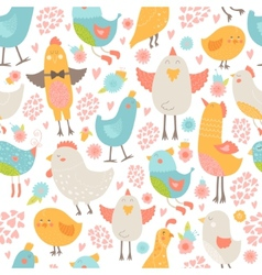 Cute birds seamless background vector image vector image