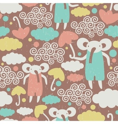 Cute elephants in the sky texture vector image vector image