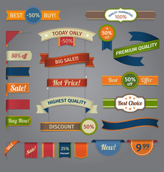 Discount retro ribbon color set vector image