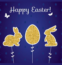 Easter golden decoration in form of bunny and egg vector