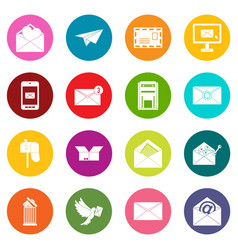 email icons many colors set vector image