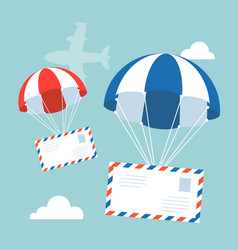 envelope with parachute in the sky vector image vector image