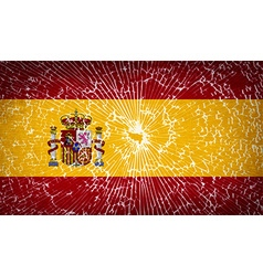 Flags Spain with broken glass texture vector image