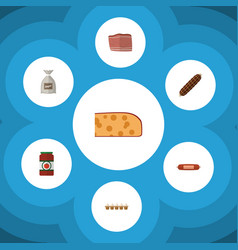 Flat icon food set of beef ketchup sack and vector