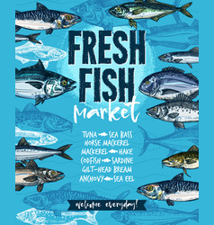 Fresh fish banner for seafood market template vector