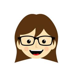 Geek cartoon face expression female woman girl art vector