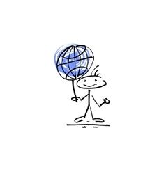 Hand drawing sketch human smile stick figure globe vector