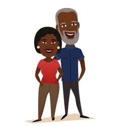 Happy black middle aged couple isolated vector