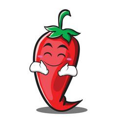 Happy red chili character cartoon vector