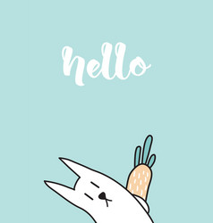 hello rabbit vector image vector image