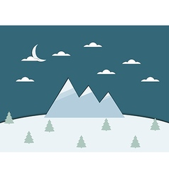 Landscape with mountains clouds and paper trees vector