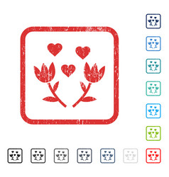Lovely tulip flowers icon rubber watermark vector