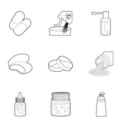 medicament icons set outline style vector image