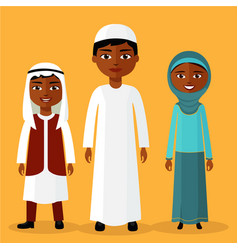 muslim kids young arab boys and girl standing vector image
