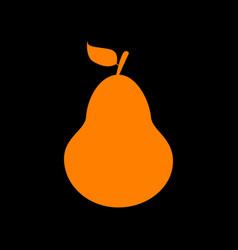 pear sign orange icon on black vector image
