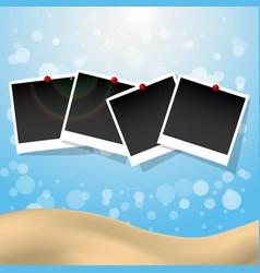 Photo frames with push pins summer presentation vector