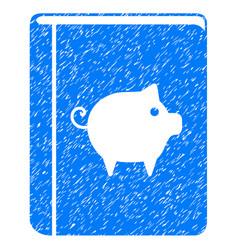 Pig handbook icon grunge watermark vector