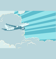 retro airplane flying in the clouds air travel vector image