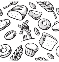 Seamless Pattern hand drawn vintage for bakery vector image vector image