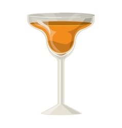 Silhouette with drink orange in cocktail glass vector
