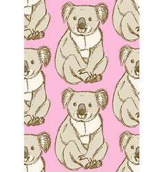 Sketch cute koala in vintage style vector image