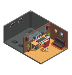 soundbox interior isometric composition vector image vector image