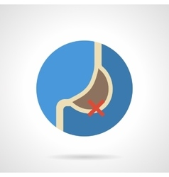 Stomach problem flat color round icon vector