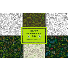 stpatrick s day set of seamless patterns vector image vector image