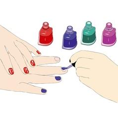 The choice of the enamel in a beauty salon vector
