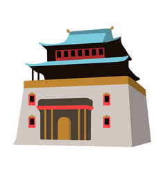 the three-storey building in mongoliamongolian vector image