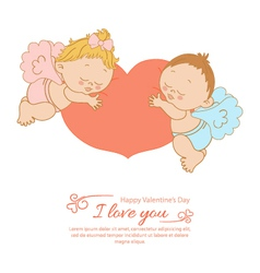 Valentines Day greeting card with two angels vector image vector image