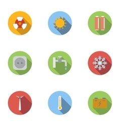 Various energy icons set flat style vector