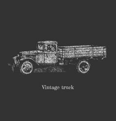 vintage truck on blackboard vector image vector image