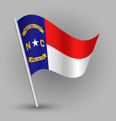 waving triangle american state flag new carolina vector image