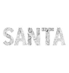 Word santa for coloring decorative vector