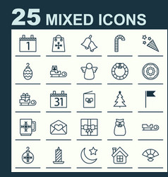 Year icons set collection of celebration card vector