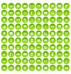 100 landscape element icons set green circle vector