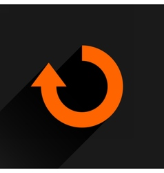 Flat orange arrow icon rotation repeat sign vector